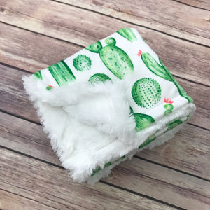 Snuggle Baby No Slip Stroller Blanket in Cactus Minky - Snuggle Up Buttercups