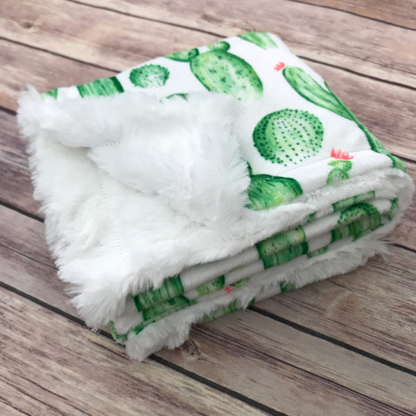 Cactus Minky Infant Blanket - Snuggle Up Buttercups