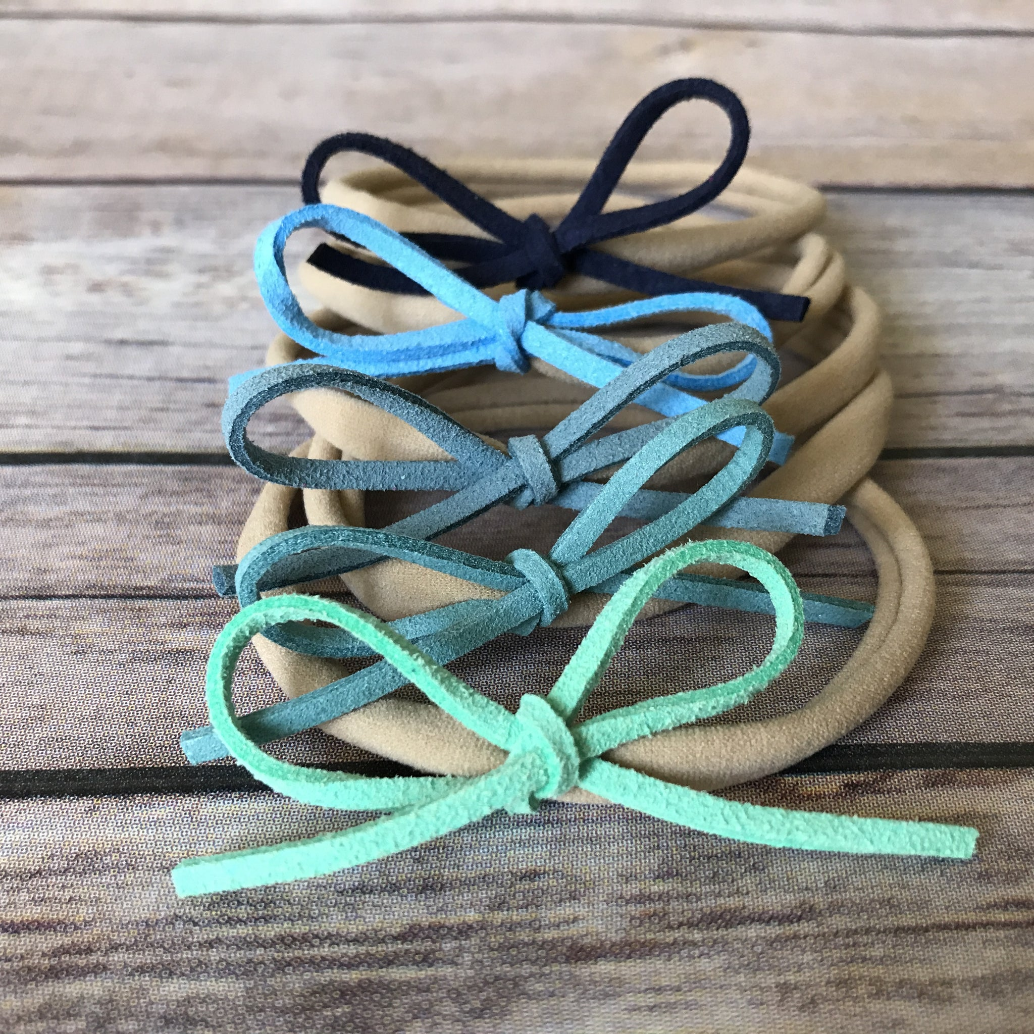Blues Set of 5 Petite Suede Bow Headbands - Snuggle Up Buttercups