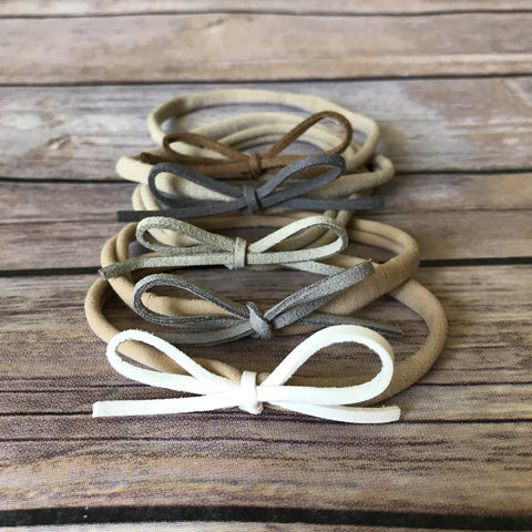 Neutrals Set of 5 Petite Suede Bow Headbands