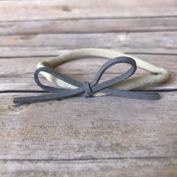 Neutrals Set of 4 Petite Suede Bow Headbands - Snuggle Up Buttercups