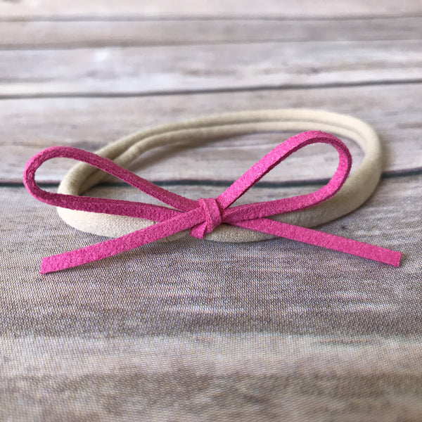 Pretty in Pink Set of Petite Suede Bow Headbands - Snuggle Up Buttercups