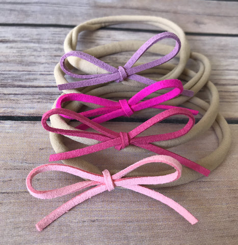 Pretty in Pink Set of Petite Suede Bow Headbands