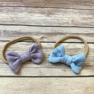 Set of 2 Mini Gauze Bow Headbands