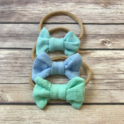 Blues Set of 3 Mini Gauze Bow Headbands - Snuggle Up Buttercups
