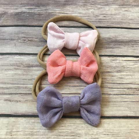 Pretty in Pink Set of 3 Mini Gauze Bow Headbands - Snuggle Up Buttercups
