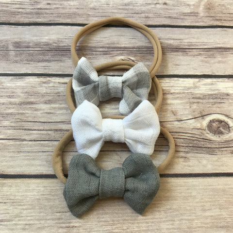 Neutrals Set of 3 Mini Gauze Bow Headbands - Snuggle Up Buttercups