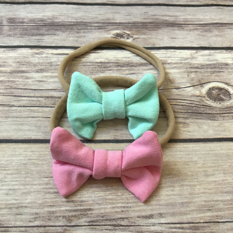 Set of 2 Mini Jersey Bow Headbands - Snuggle Up Buttercups