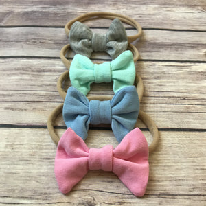 Set of 4 Mini Jersey Bow Headbands