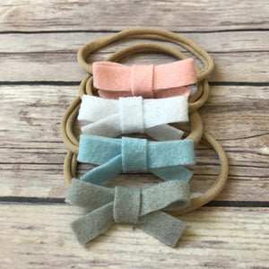 Set of 4 Mini School Girl Felt Bow Headbands