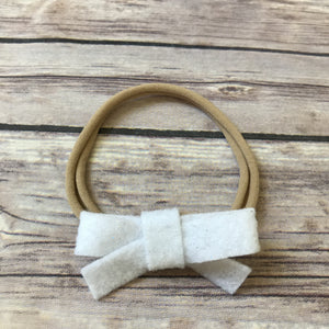 Set of 2 Mini School Girl Felt Bow Headbands