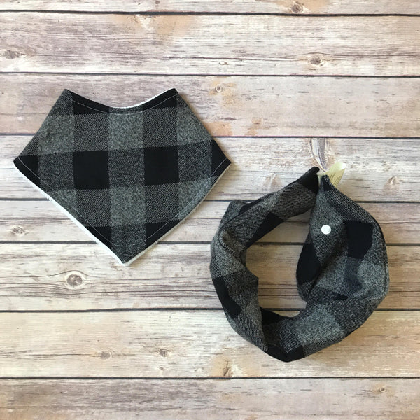 Grey Buffalo Check Cotton Bib - Snuggle Up Buttercups