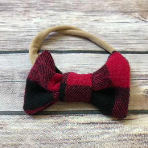 Buffalo Check Cotton Bow Headband - Snuggle Up Buttercups