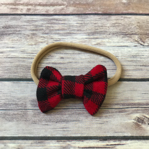 Mini Buffalo Check Cotton Bow Headband - Snuggle Up Buttercups