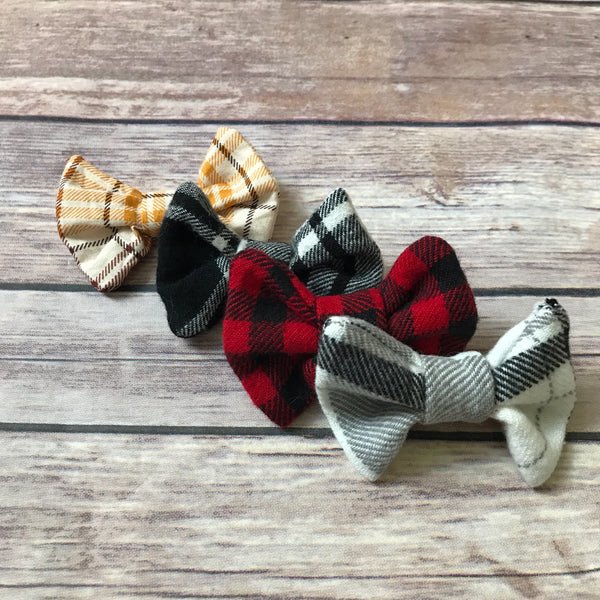 Black and White Cotton Hair Bow - Snuggle Up Buttercups