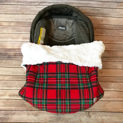 Snuggle Baby No Slip Stroller Blanket in Holiday Plaid Minky