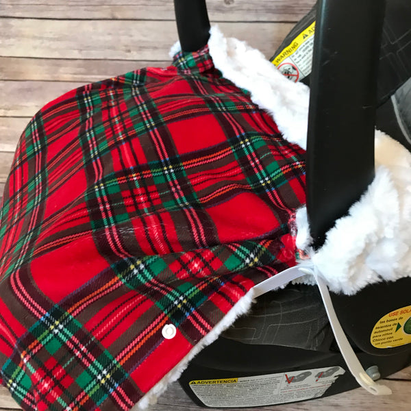 Snuggle Baby No Slip Stroller Blanket in Holiday Plaid Minky - Snuggle Up Buttercups