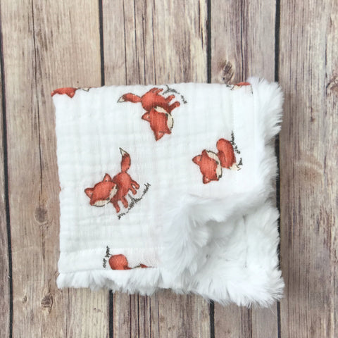 Fox Gauze Mini Snuggle Blanket - Snuggle Up Buttercups
