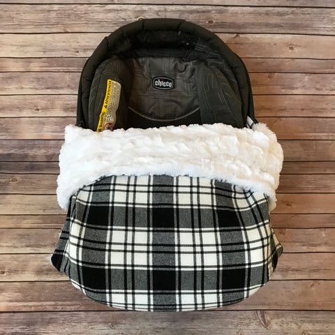 Snuggle Baby No Slip Stroller Blanket in Black + White Plaid Cotton