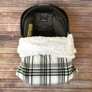 Snuggle Baby No Slip Stroller Blanket in Black + Grey Plaid Cotton