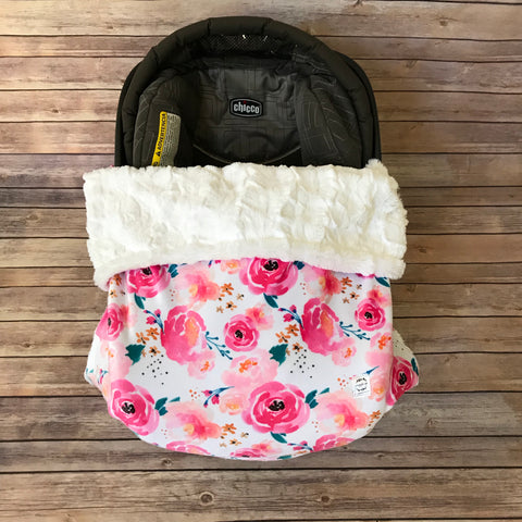 Snuggle Baby No Slip Stroller Blanket in Bright Watercolor Floral Minky - Snuggle Up Buttercups