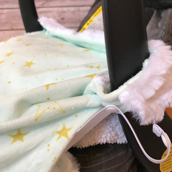 Snuggle Baby No Slip Stroller Blanket in Star Minky {multiple colors} - Snuggle Up Buttercups