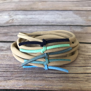 Blues Set of 5 Petite Suede Knot Headbands - Snuggle Up Buttercups