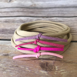 Pretty in Pink Set of Petite Suede Knot Headbands - Snuggle Up Buttercups
