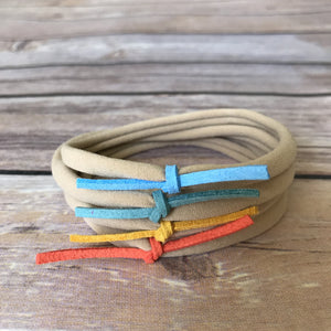 Beach Day Set of 4 Petite Suede Knot Headbands - Snuggle Up Buttercups