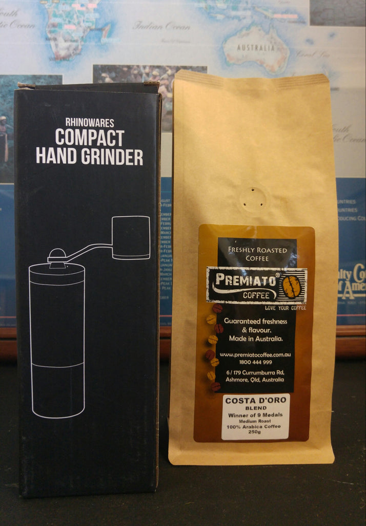 Rhino™ Coffee Gear Hand Grinder. Bonus adaptor for grinding directly into Aeropress  + FREE 250g Costa D'oro Coffee