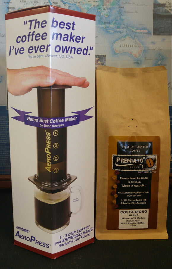 Aeropress Coffee Makers including 350 Filters + FREE 250g Costa D'oro Coffee (ground)