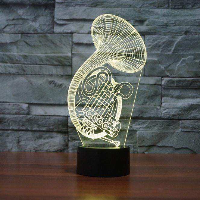 FRENCH HORN 3D LAMP 8 CHANGEABLE COLORS