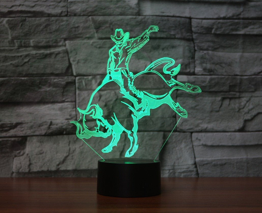BULL RIDER 3D LAMP 8 CHANGEABLE COLORS