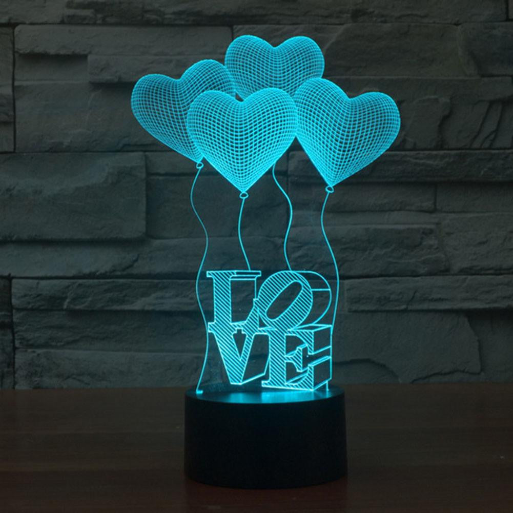 LOVE BALOON HEART 3D LAMP 8 CHANGEABLE COLORS