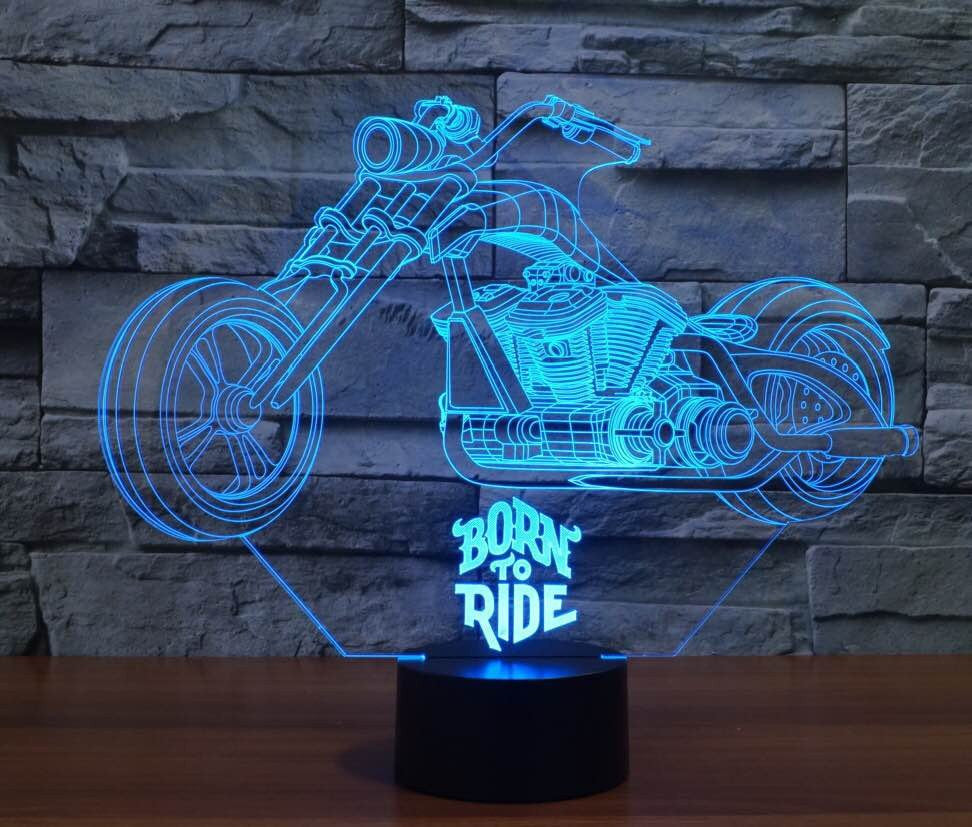BORN TO RIDE 3D LAMP 8 changeable colors