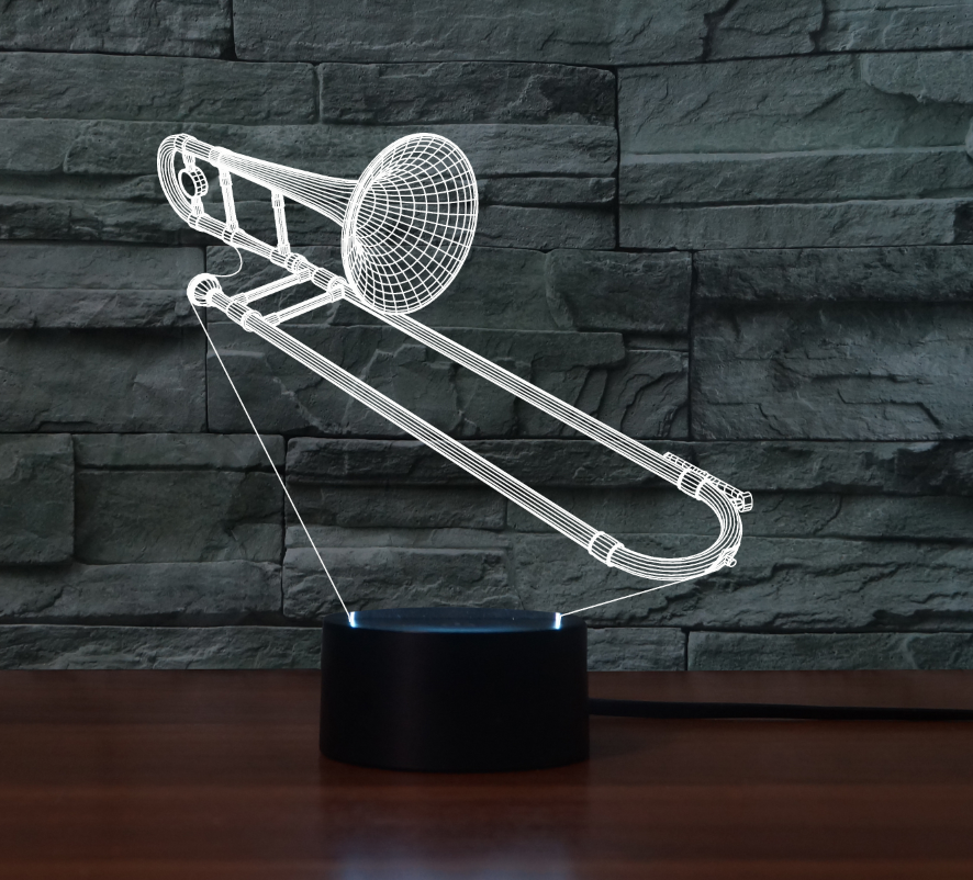 TROMBONE 3D LAMP 8 CHANGEABLE COLORS