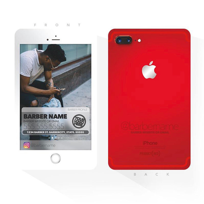 iPhone Red 8+ Barber Promo Flyers (3x5 inches)