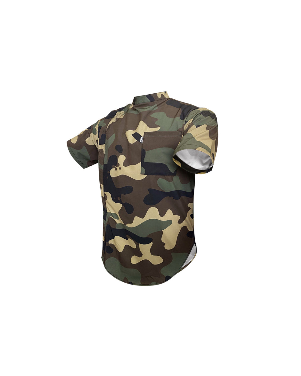 Woodland Camo Scoop Bottom Barber Smock