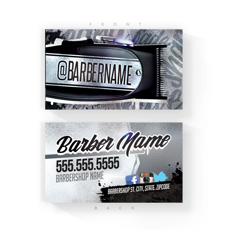 Black Splash Barber Business Cards (2x3.5 inches)