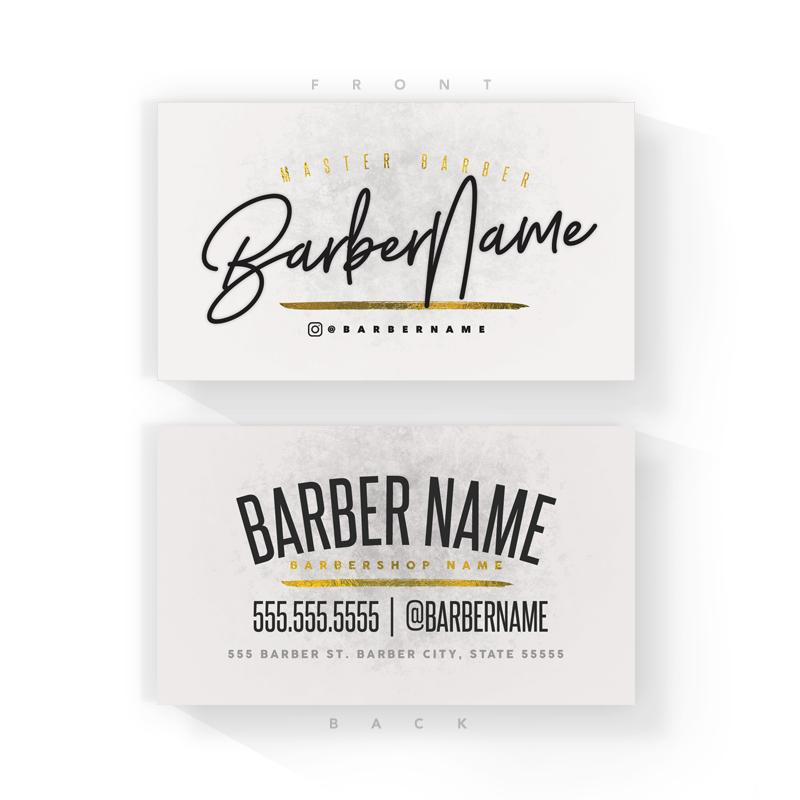 Classic White/Gold Barber Business Cards (2x3.5 inches)