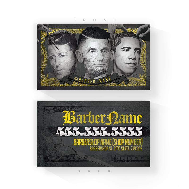 Gold Presidential Barber Business Cards (2x3.5 inches)