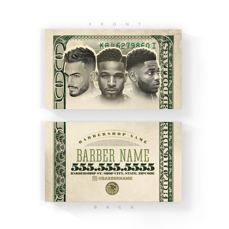 bank note barber business cards