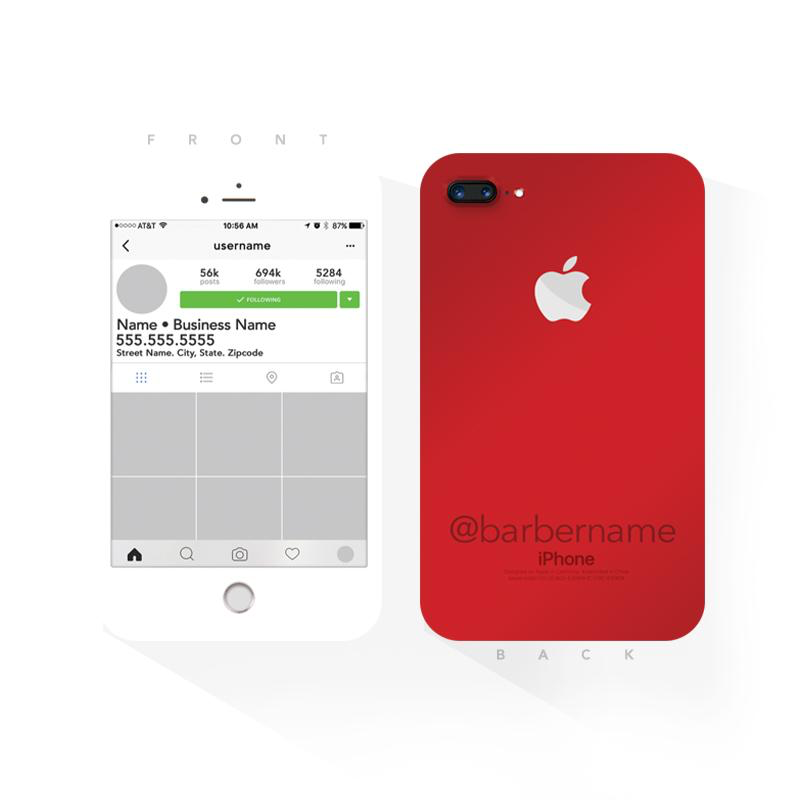 (red) Instagram White iPhone Barber Business Cards (2x3.5 inches)
