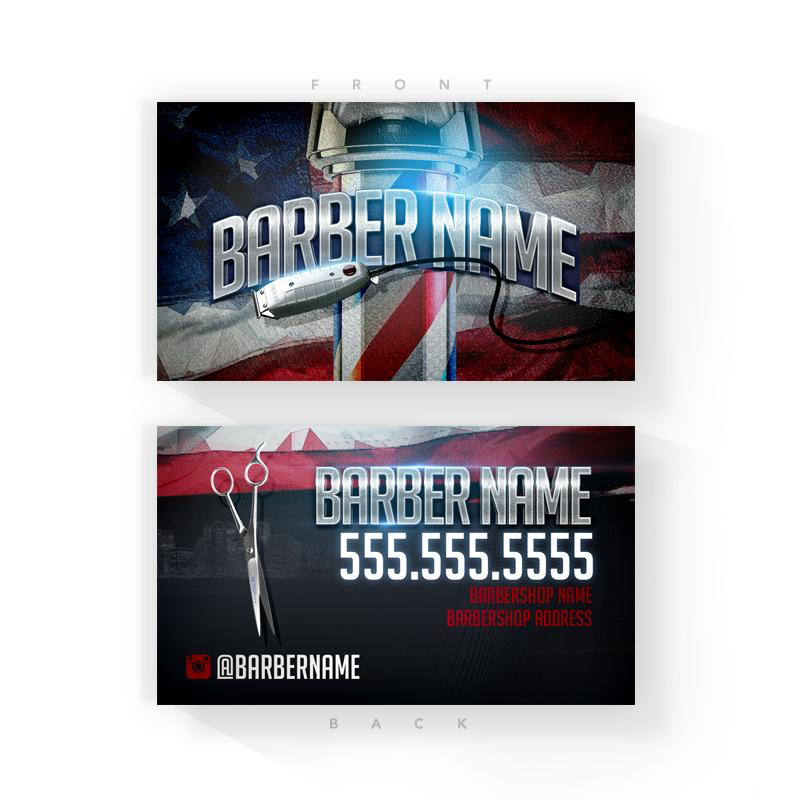 Red, White & Blue Barber Business Cards (2x3.5 inches)
