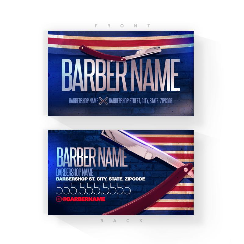 Barber Striped Barber Business Cards (2x3.5 inches)