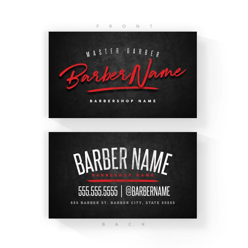 Classic Black/Red Barber Business Cards (2x3.5 inches)