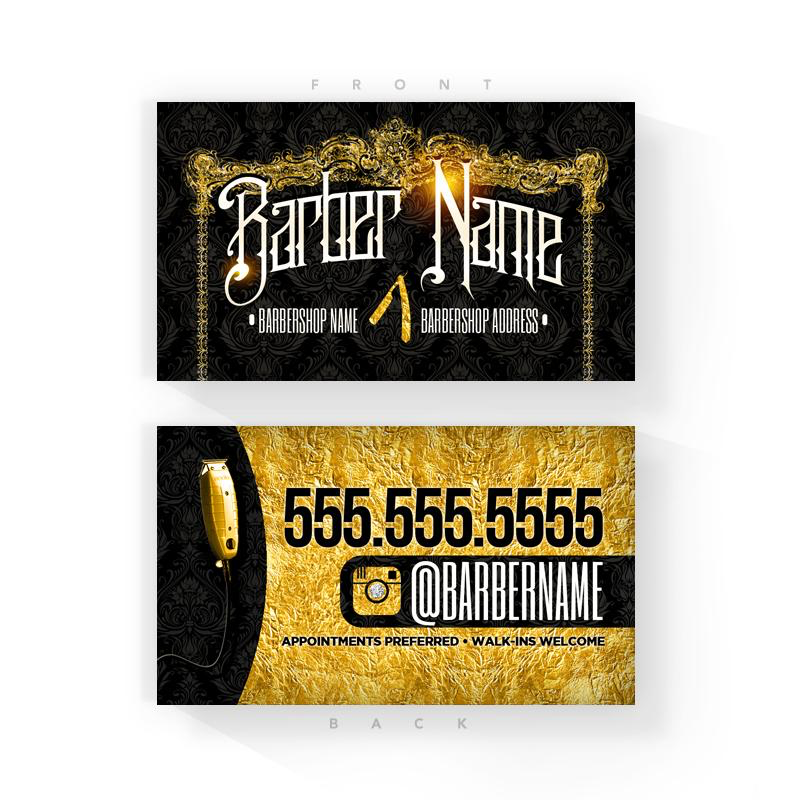 Black & Gold Barber Business Cards (2x3.5 inches)