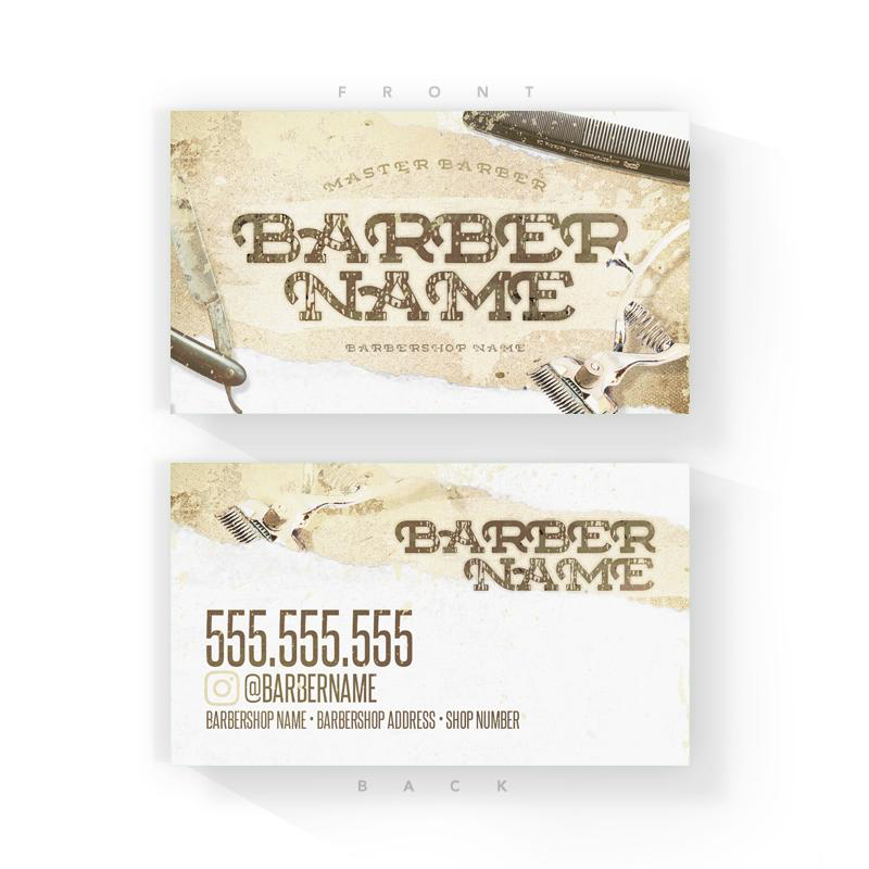 Antique Barber Business Cards (2x3.5 inches)