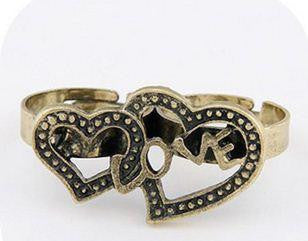 Twin Vintage Love Heart Ring - Pinkybears Fashion Boutique Malaysia