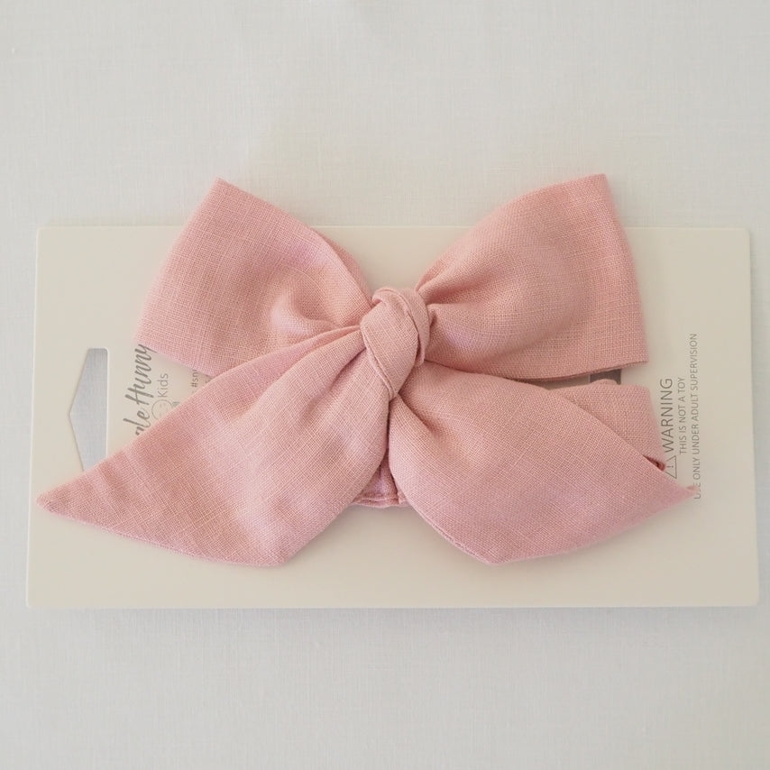 Snuggle Hunny Kids Pre Tied Headband Wrap - Dusty Pink Linen Bow